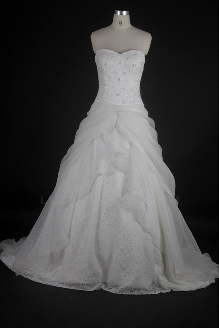A-line Sweetheart Beaded Lace Bridal Wedding Dresses WD010132