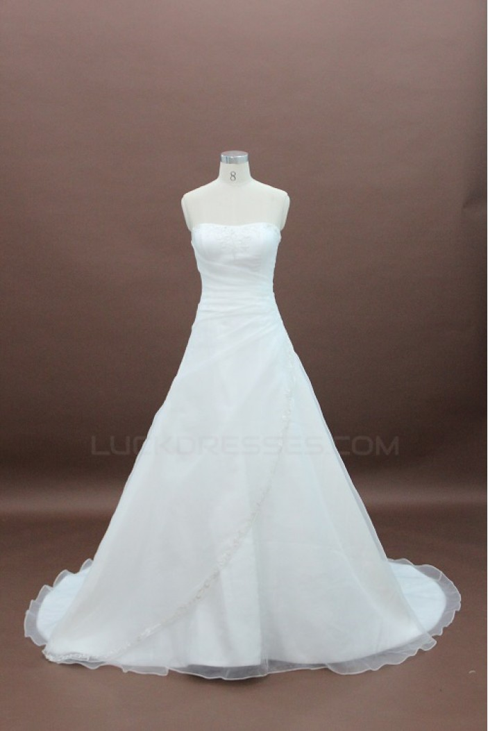 A-line Strapless Court Train Bridal Wedding Dresses WD010134