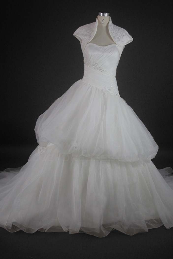 Ball Gown Strapless Chapel Train Bridal Wedding Dresses with A Lace Jacket WD010137