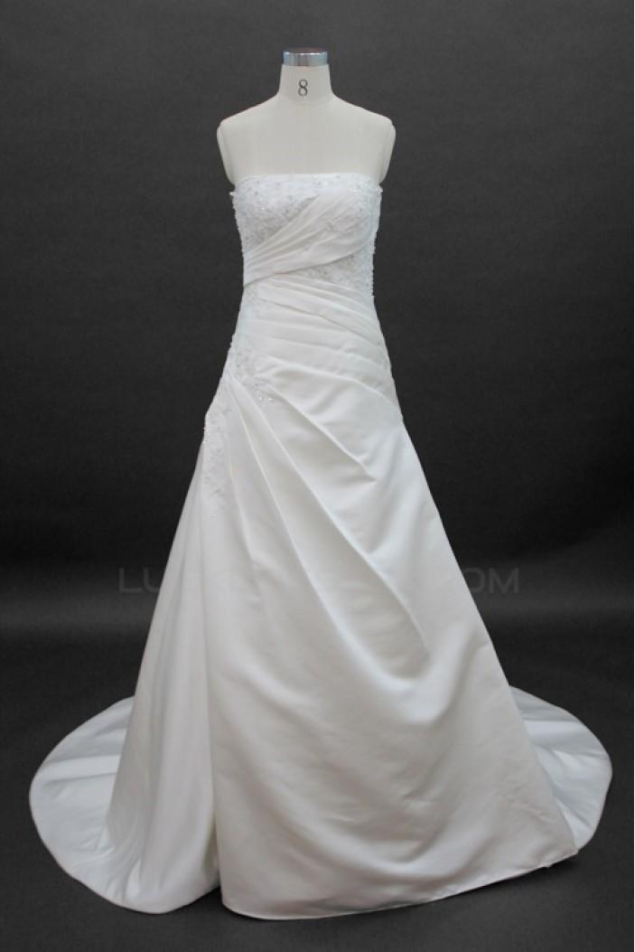 A-line Strapless Court Train Bridal Wedding Dresses WD010138
