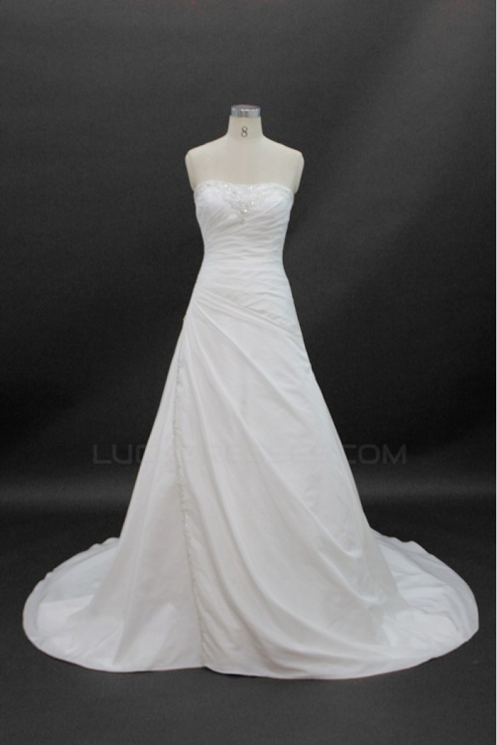A-line Strapless Court Train Bridal Wedding Dresses WD010139