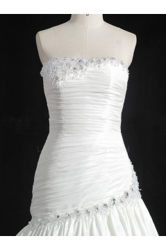 Discount A-line Strapless Chapel Train Bridal Wedding Dresses WD010143