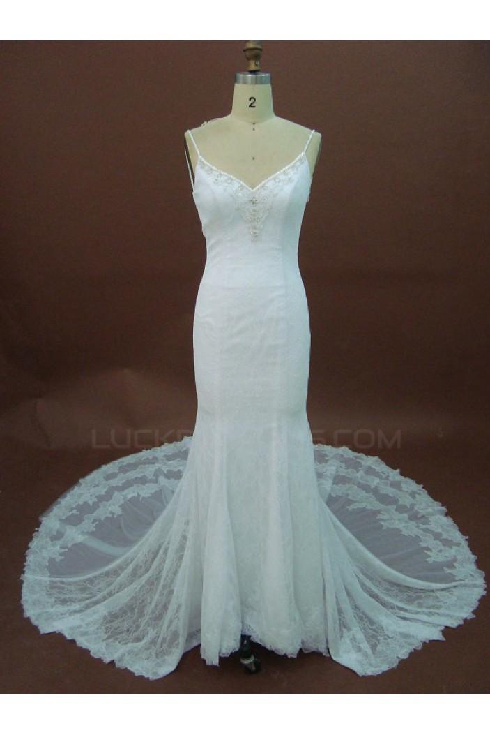 Sexy Trumpet/Mermaid Spaghetti Straps Chapel Train Lace Bridal Wedding Dresses WD010149