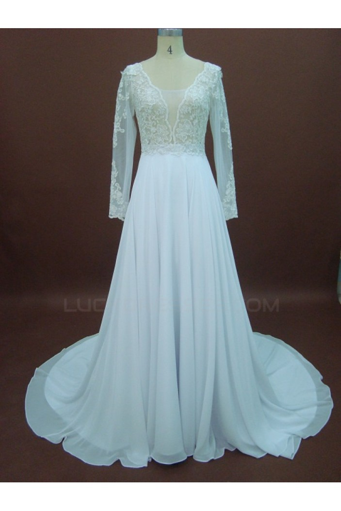 Affordable A-line Long Sleeves Lace Bridal Wedding Dresses WD010152