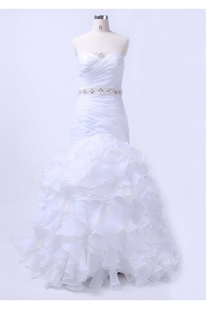 Trumpet/Mermaid Strapless Beaded Bridal Wedding Dresses WD010153