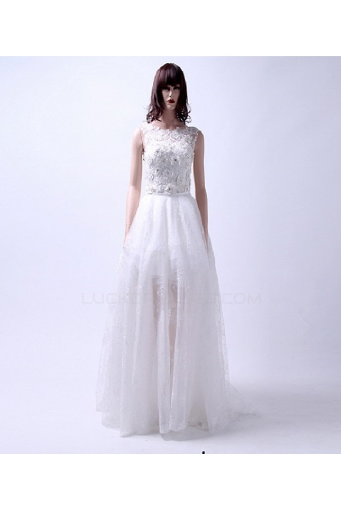 Inexpensive Short Bridal Wedding Dresses with Removable Long Skirt WD010156