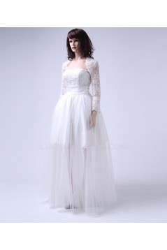 Cheap Short Bridal Wedding Dresses with A Lace Jacket and Removable Long Skirt WD010157