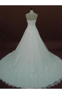 A-line Sweetheart Chapel Train Lace Bridal Wedding Dresses WD010159