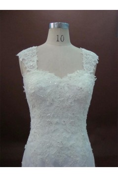 Trumpet/Mermaid Straps Sleeves Court Train Lace Bridal Wedding Dresses WD010162