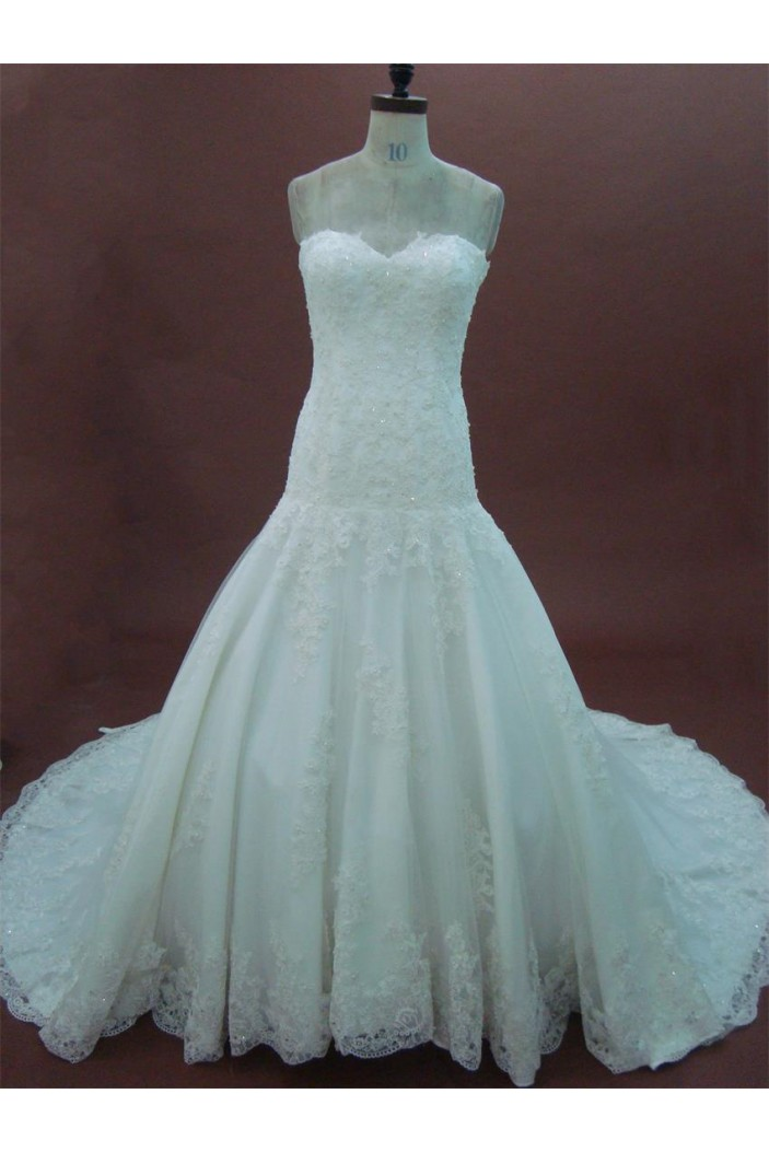 A-line Sweetheart Chapel Train Lace Bridal Wedding Dresses WD010163