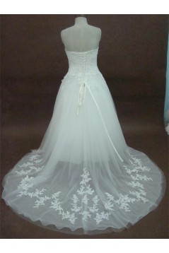 A-line Sweetheart Chapel Train Lace Bridal Wedding Dresses WD010166