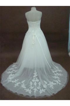 A-line Sweetheart Chapel Train Lace Bridal Wedding Dresses WD010166