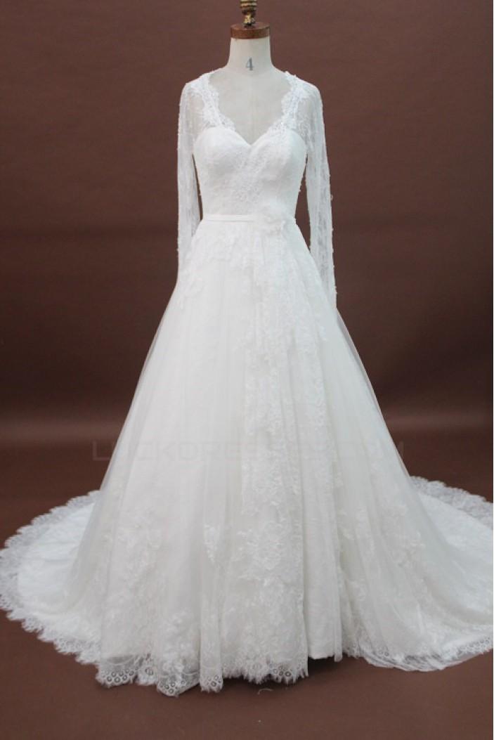 A-line V-neck Long Sleeves Chapel Train Lace Bridal Wedding Dresses WD010169