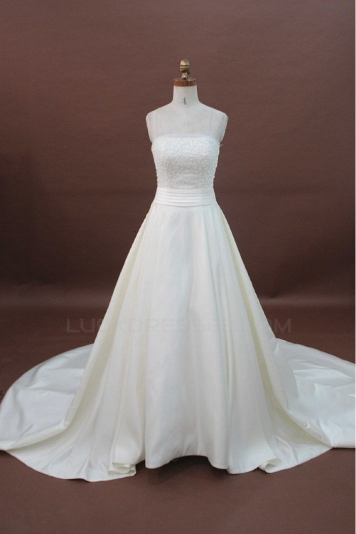 A-line Strapless Chapel Train Beaded Bridal Wedding Dresses WD010170