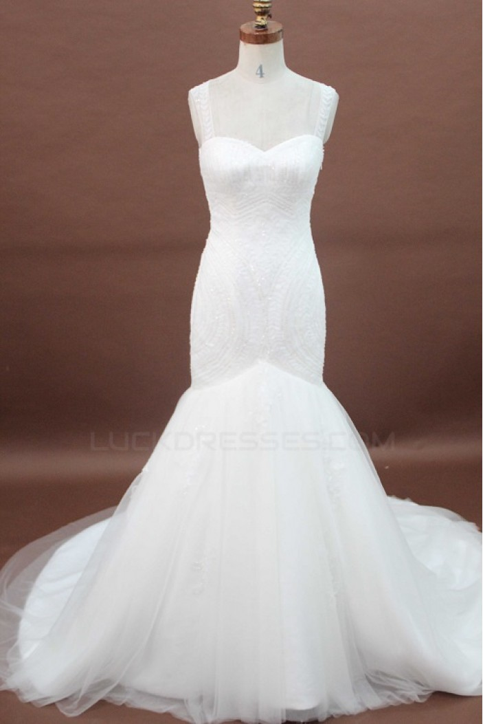 Trumpet/Mermaid Sweetheart Court Train Bridal Wedding Dresses WD010171