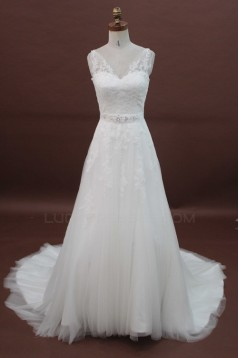 A-line Strapless Chapel Train Lace Bridal Wedding Dresses WD010173