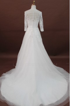 A-line Chapel Train 3/4 Sleeves Lace Bridal Wedding Dresses WD010174