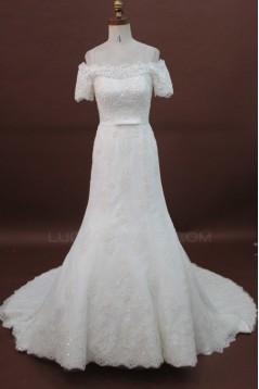 Trumpet/Mermaid Short Sleeves Off the Shoulder Lace Bridal Wedding Dresses WD010176
