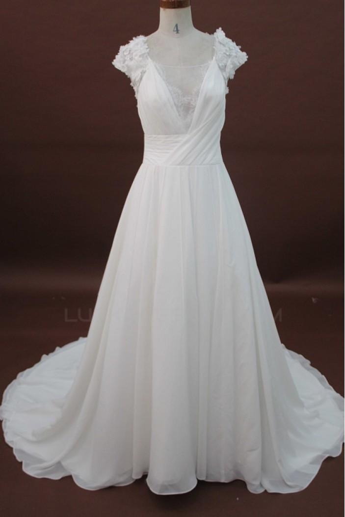 A-line Chapel Train Lace Bridal Wedding Dresses WD010177