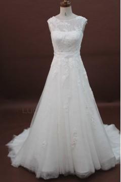 A-line Chapel Train Beaded Lace Bridal Wedding Dresses WD010179
