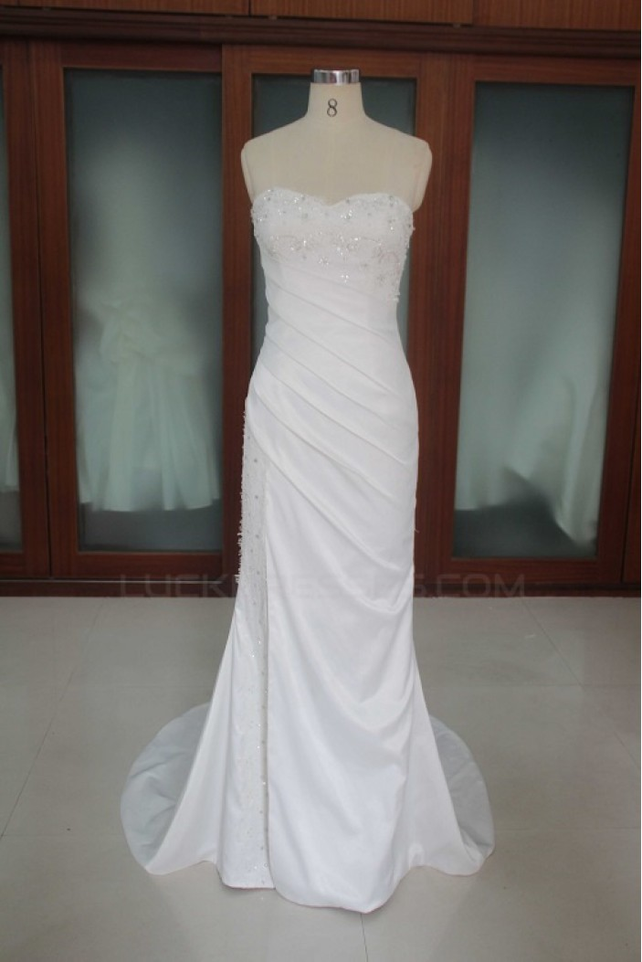 Trumpet/Mermaid Sweetheart Court Train Beaded Bridal Wedding Dresses WD010184