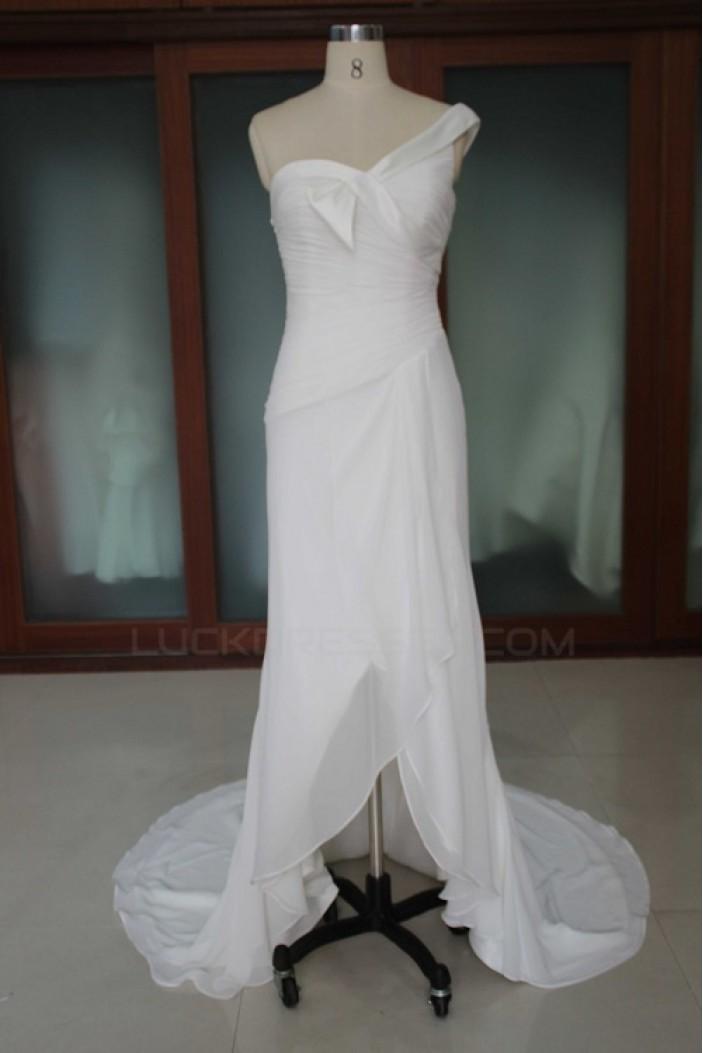 Sheath/Column One Shoulder Bridal Wedding Dresses WD010185