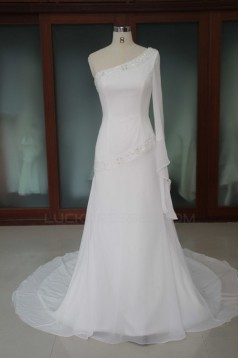 A-line One Shoulder Beaded Bridal Wedding Dresses WD010186
