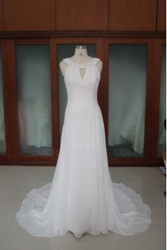 A-line Court Train Beaded Bridal Wedding Dresses WD010188