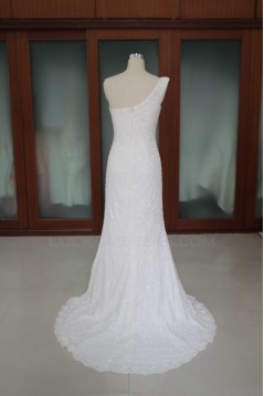 Sheath/Column One Shoulder Beaded Lace and Chiffon Bridal Wedding Dresses WD010190