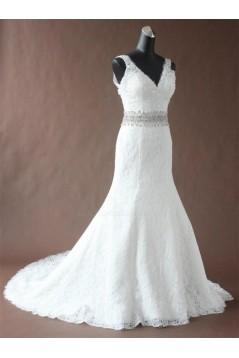 Trumpet/Mermaid Straps Beaded Lace Bridal Wedding Dresses WD010192