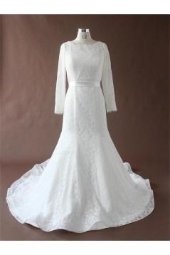 Trumpet/Mermaid Chapel Train Long Sleeves Lace Bridal Wedding Dresses WD010193