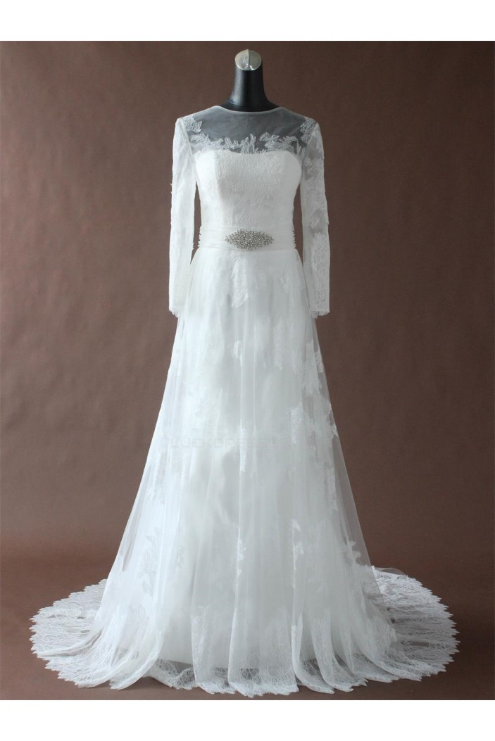 A-line Chapel Train Long Sleeves Lace Bridal Wedding Dresses WD010195