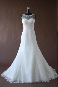 A-line Court Train Lace Bridal Wedding Dresses WD010197