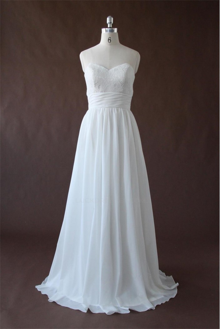 A-line Sweetheart Lace and Chiffon Bridal Wedding Dresses WD010199