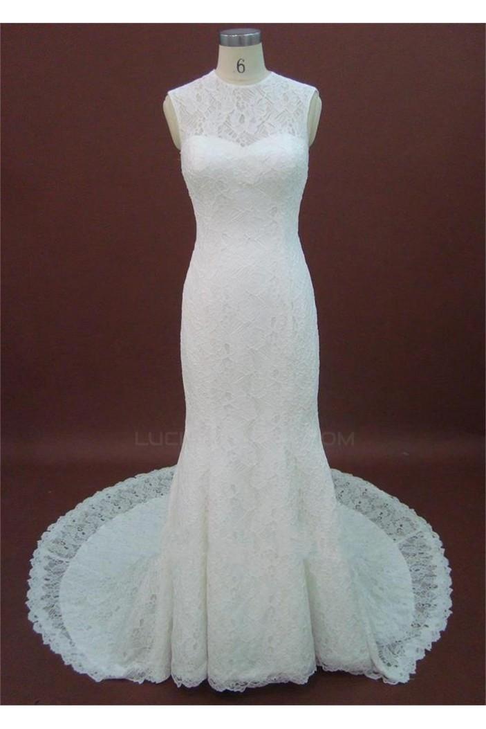 Trumpet/Mermaid Court Train Lace Bridal Wedding Dresses WD010201