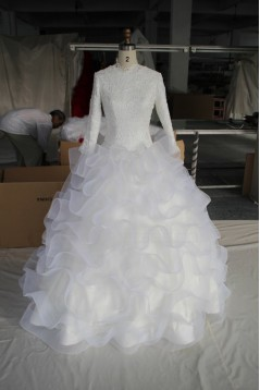 Ball Gown Long Sleeves Lace Bridal Wedding Dresses WD010205