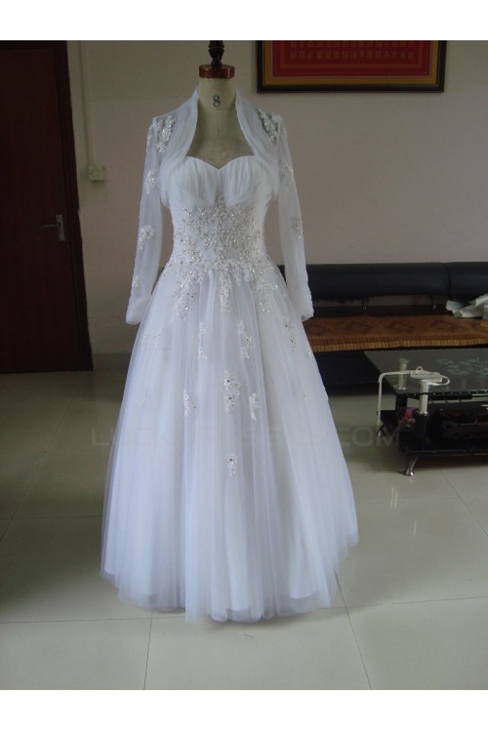 A-line Sweetheat Lace Bridal Wedding Dresses with A Jacket WD010209