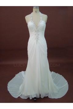 Sheath/Column Halter Sweep Train Beaded Chiffon Bridal Wedding Dresses WD010212