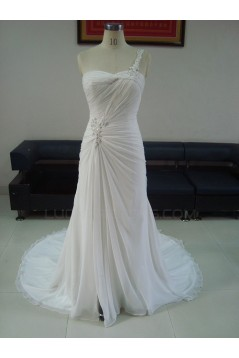 Sheath/Column One Shoulder Sweep Train Bridal Wedding Dresses WD010213