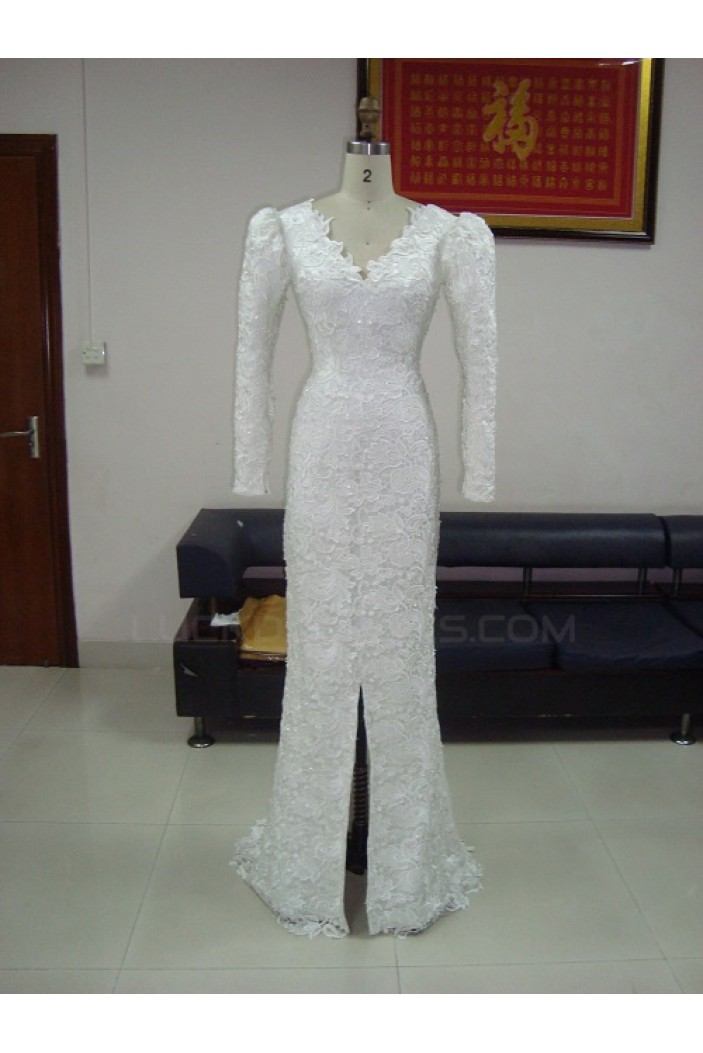 Trumpet/Mermaid Long Sleeves V-neck Low V-back Lace Bridal Wedding Dresses WD010214