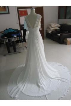 Sheath/Column Beaded Chiffon Bridal Wedding Dresses WD010215