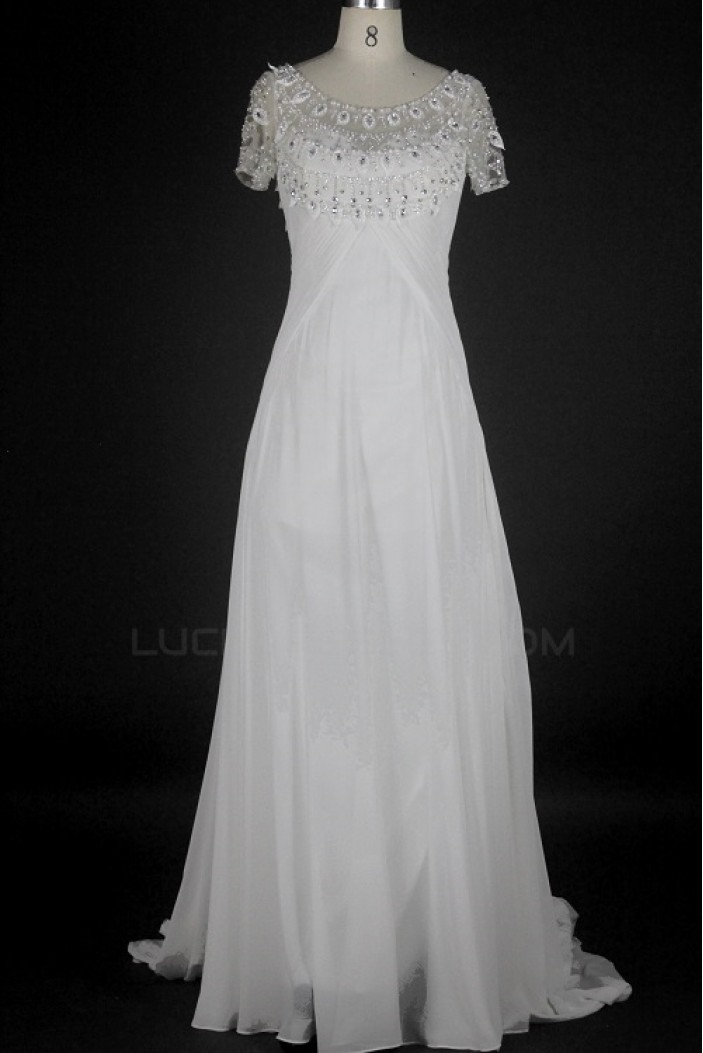 Sheath/Column Short Sleeves Beaded Chiffon Bridal Wedding Dresses WD010216