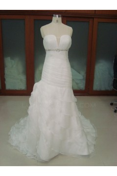 Trumpet/Mermaid Court Train Beaded Bridal Wedding Dresses WD010218