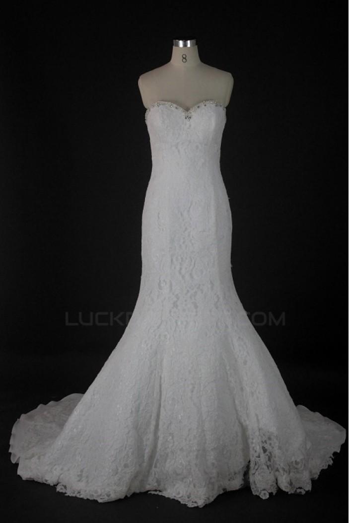 Trumpet/Mermaid Sweetheart Beaded Lace Bridal Wedding Dresses WD010223