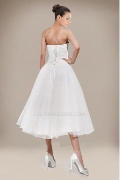 A-line Strapless Tea Length Bridal Wedding Dresses WD010228