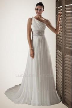 A-line One Shoulder Beaded Chiffon Bridal Wedding Dresses WD010229