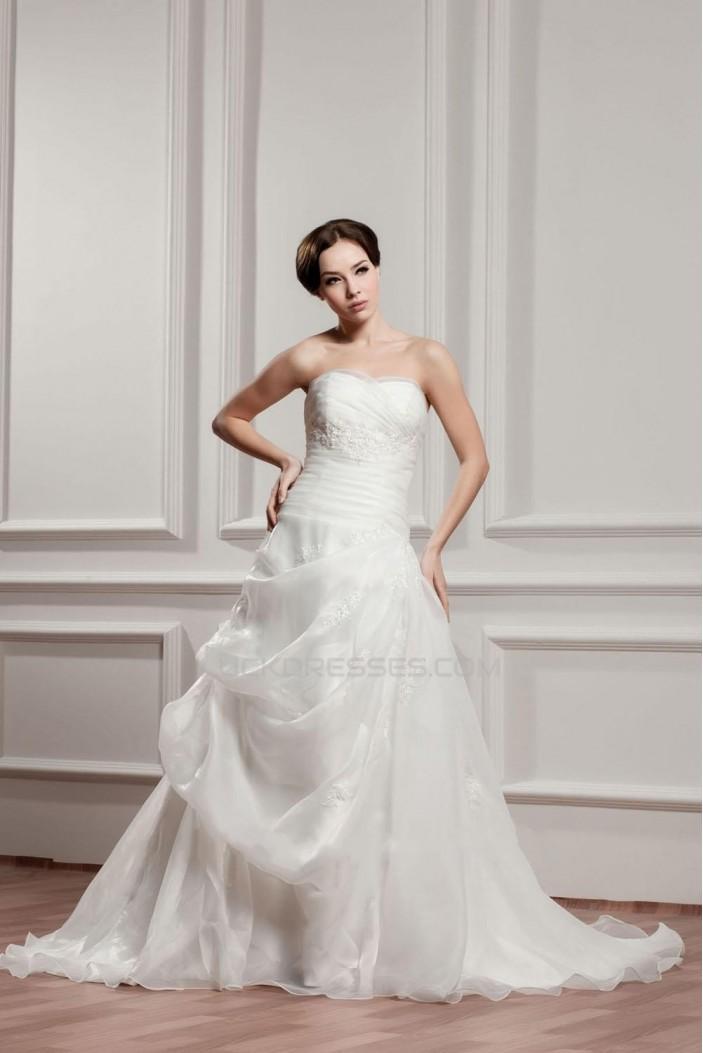 A-line Strapless Court Train Bridal Wedding Dress WD010230