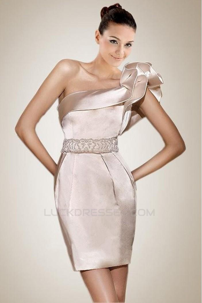 One Shoulder Short Bridal Wedding Dress WD010231