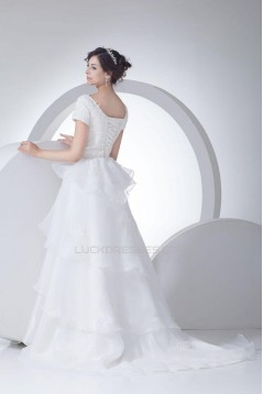 A-line Short Sleeves Court Train Bridal Wedding Dress WD010232