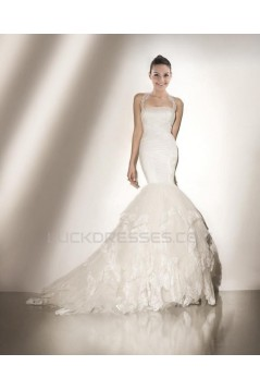 Trumpet/Mermaid Halter Court Train Lace Bridal Wedding Dress WD010234